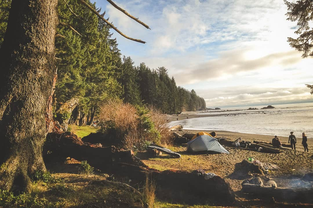 Campers at Sombrio Beach, Vancouver Island.