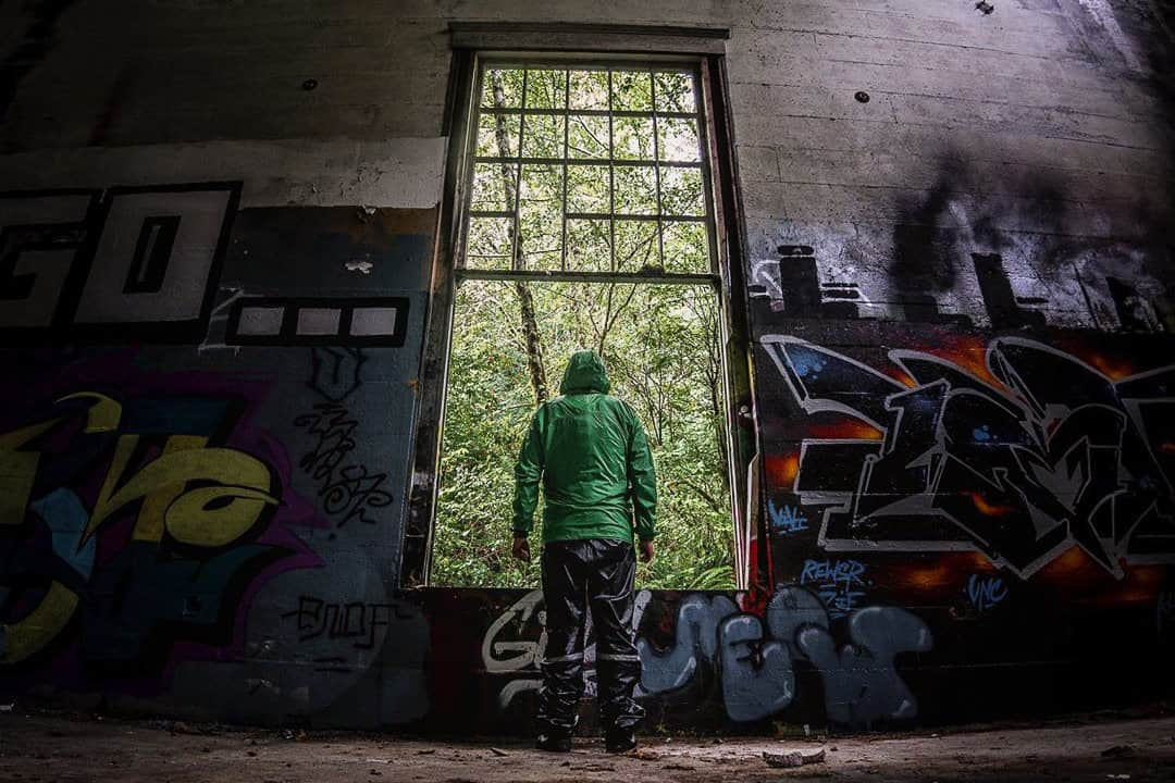 Graffiti covered abandoned power plant.