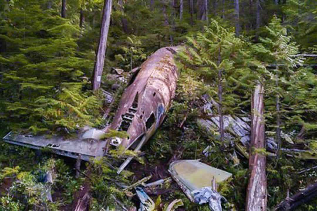 Image of the Dakota plane crash site in Port Hardy